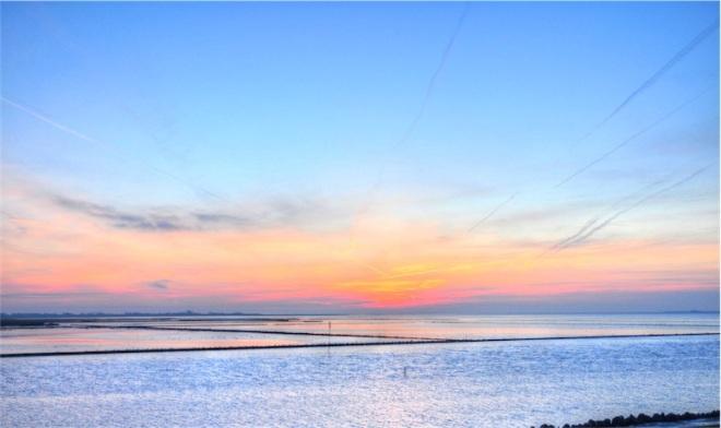Sonnenuntergang, Husum, Dockkoog, Blaue Stunde